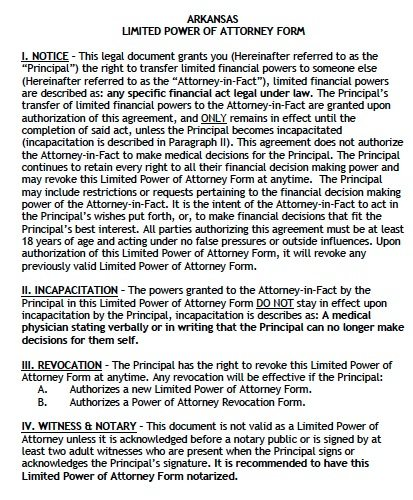 arkansas-limited-power-of-attorney-form