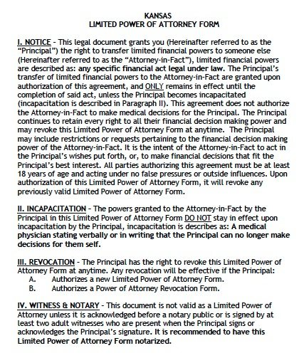 Kansas Limited Financial Power of Attorney Form