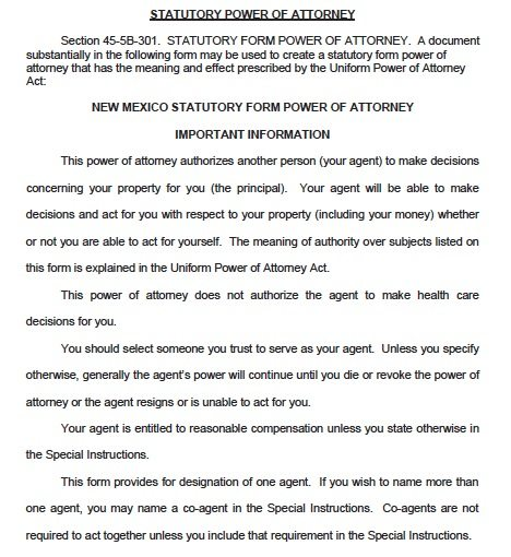New Mexico Durable Power of Attorney Form