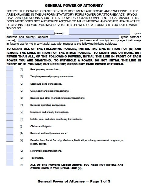 Oklahoma General Power of Attorney Form