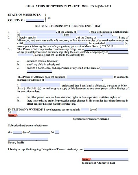 Minor Child Power of Attorney Guardianship Form