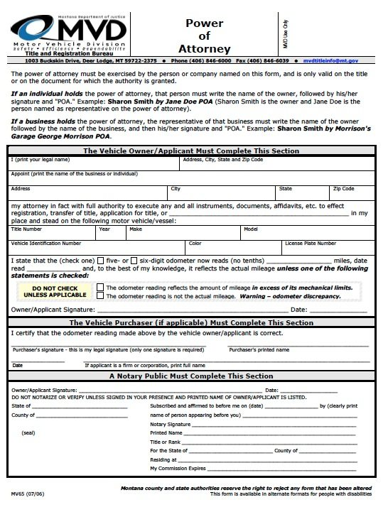 MVD Power of Attorney Form