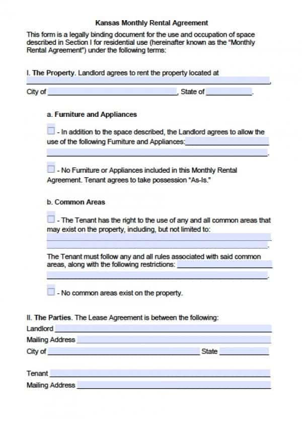 Kansas Month to Month Rental Agreement | Adobe PDF | Microsoft Word