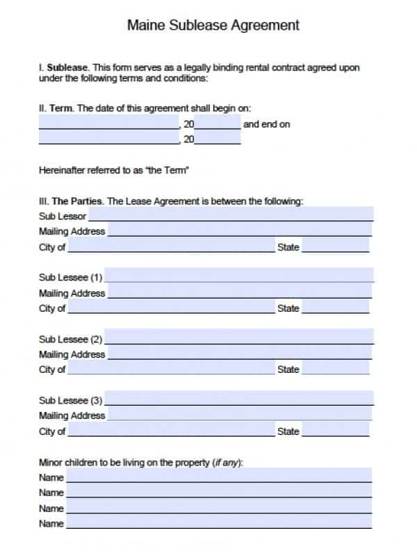 Maine SubLease Agreement   PDF   Word
