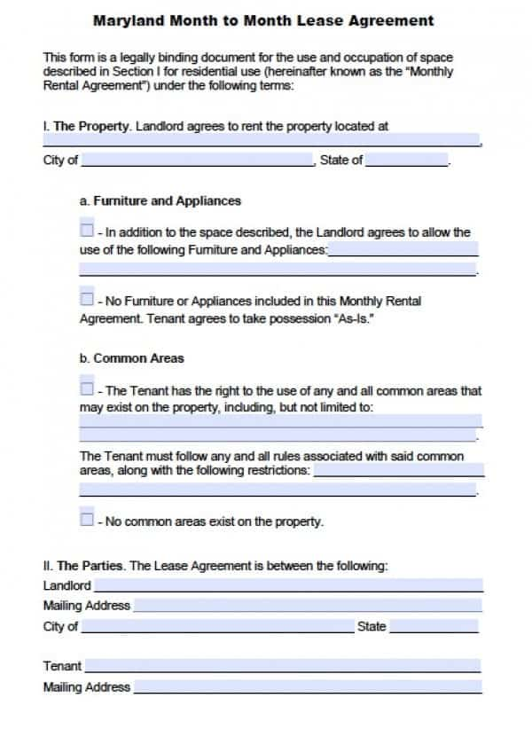 Maryland Month to Month Lease | PDF |Word