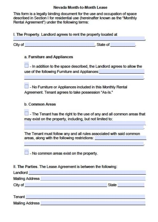 Nevada Month to Month Application | PDF | Word