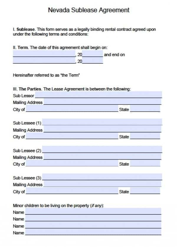 Nevada Sublease Agreement | PDF | Word