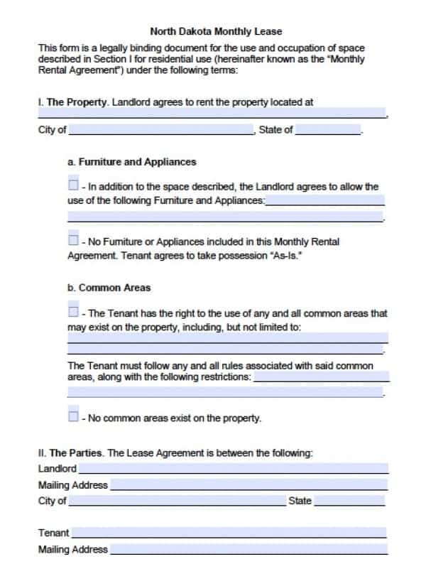 North Dakota Month to Month Rental Agreement | PDF | Word