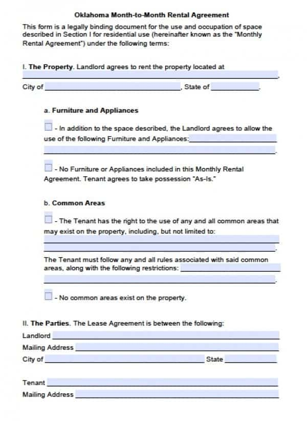 Oklahoma Month to Month Lease Agreement | PDF | Word