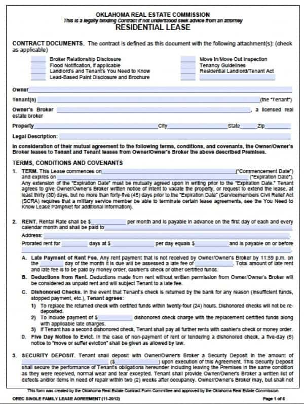 Free Oklahoma Standard One 1 Year Residential Lease