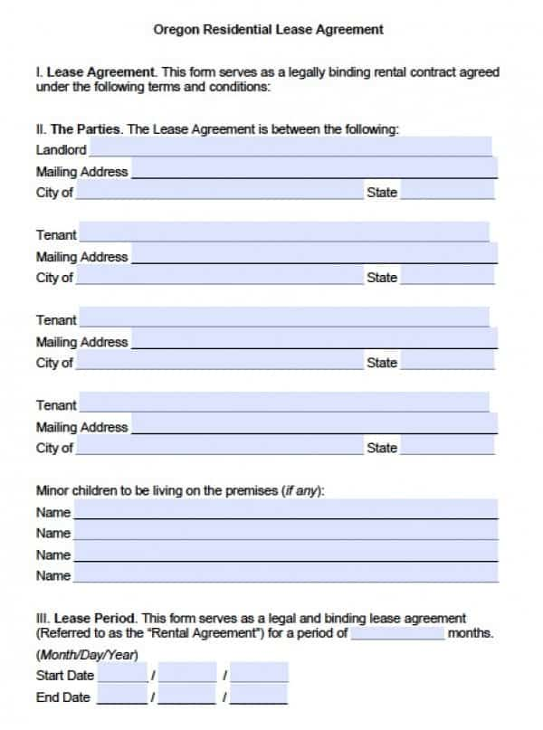 Oregon Residential Lease Agreement Template | PDF | Word