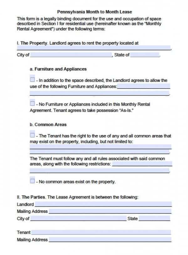 Pennsylvania Month to Month Lease Agreement | PDF | Word