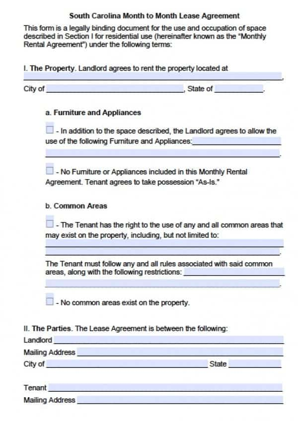 South Carolina Month to Month Lease Agreement | PDF | Word