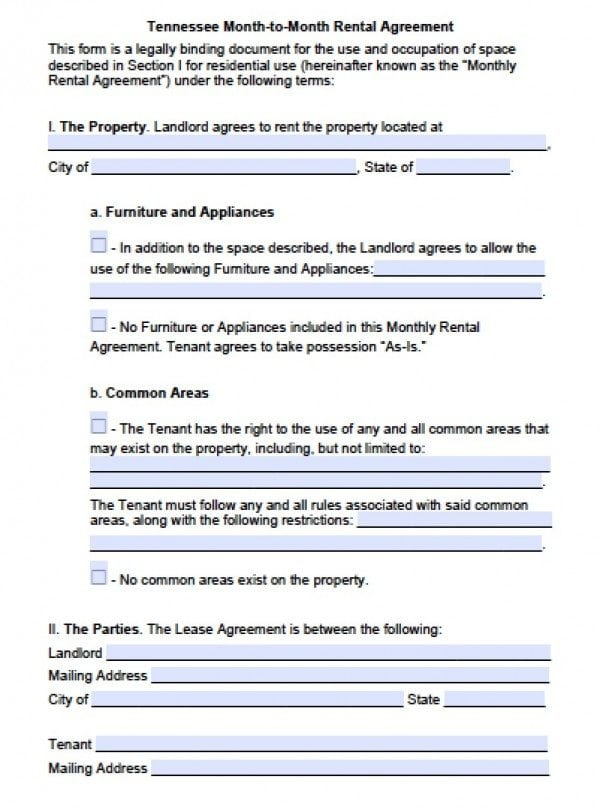 Tennessee Month to Month Lease | PDF | Word