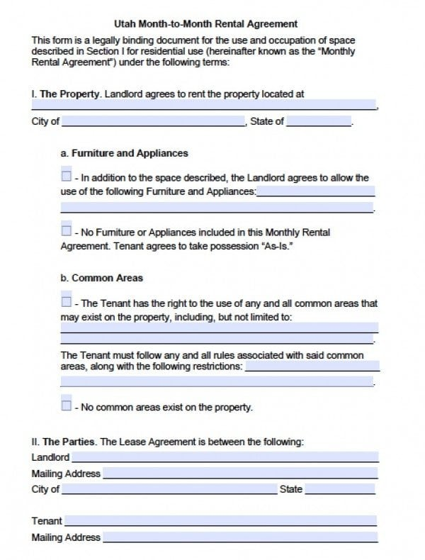 Utah Month to Month Lease Agreement   PDF   Word