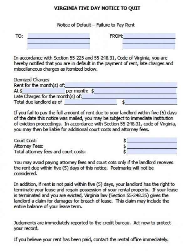 Virginia Five (5) Day Notice to Quit (nonpayment) | PDF | Word