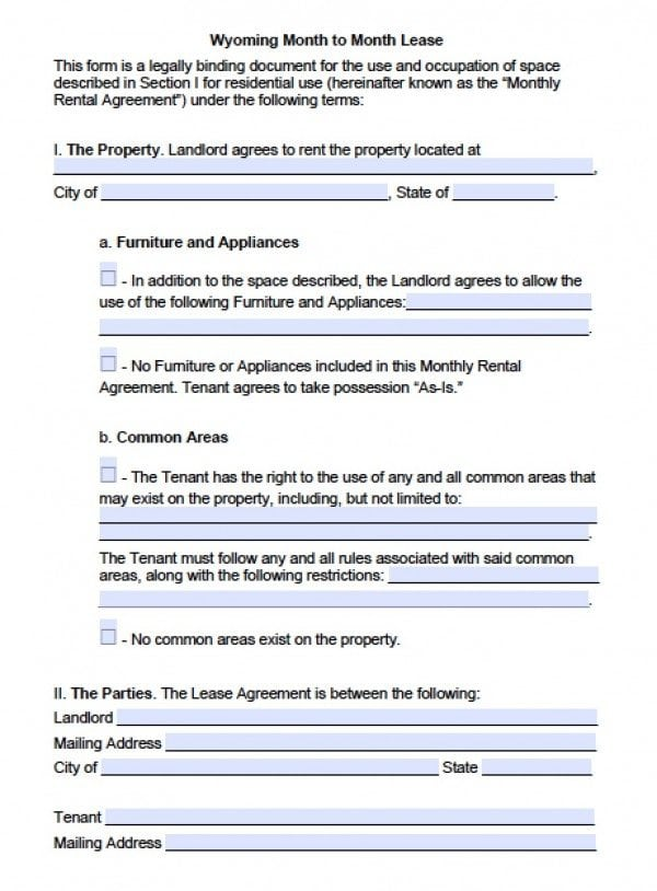Wyoming Month to Month Lease | PDF | Word