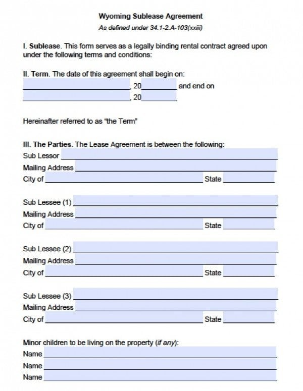 Wyoming Sublease Agreement | PDF | Word