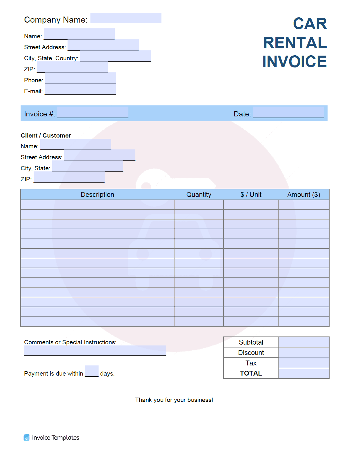 Free Car Rental Invoice Template Pdf Word Excel