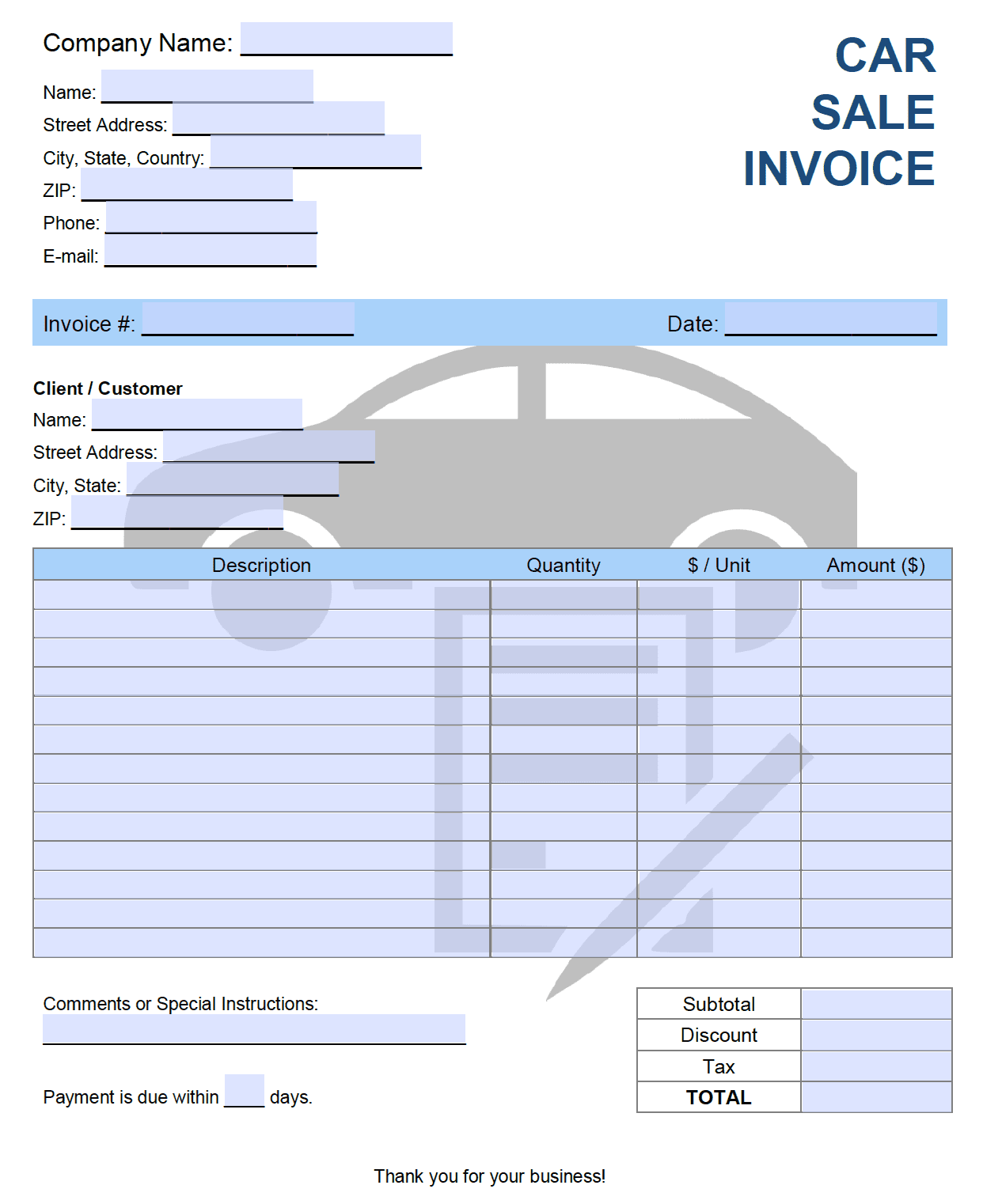 Free Car Sales Invoice Template Pdf Word Excel