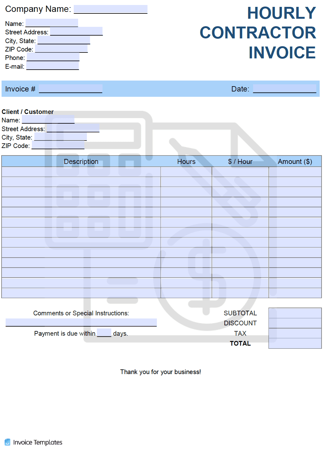 Hourly Rate Hr Invoice Template Pdf Word Excel