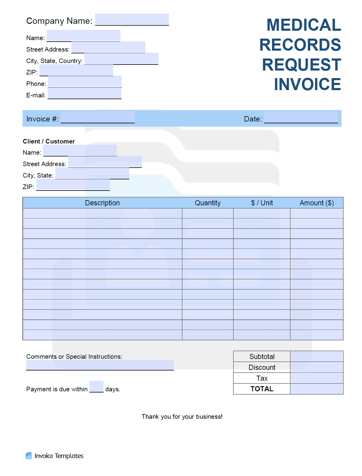 Free Medical Records Request Invoice Template  PDF  WORD  EXCEL Within Medical History Template Word