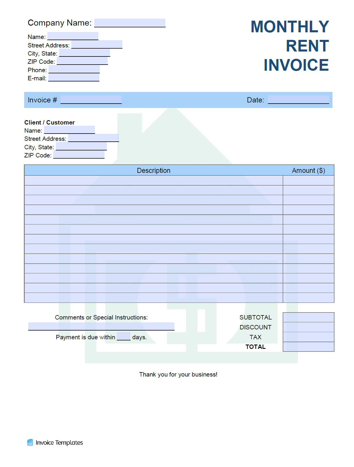Free Monthly Rent Landlord Invoice Template Pdf Word Excel