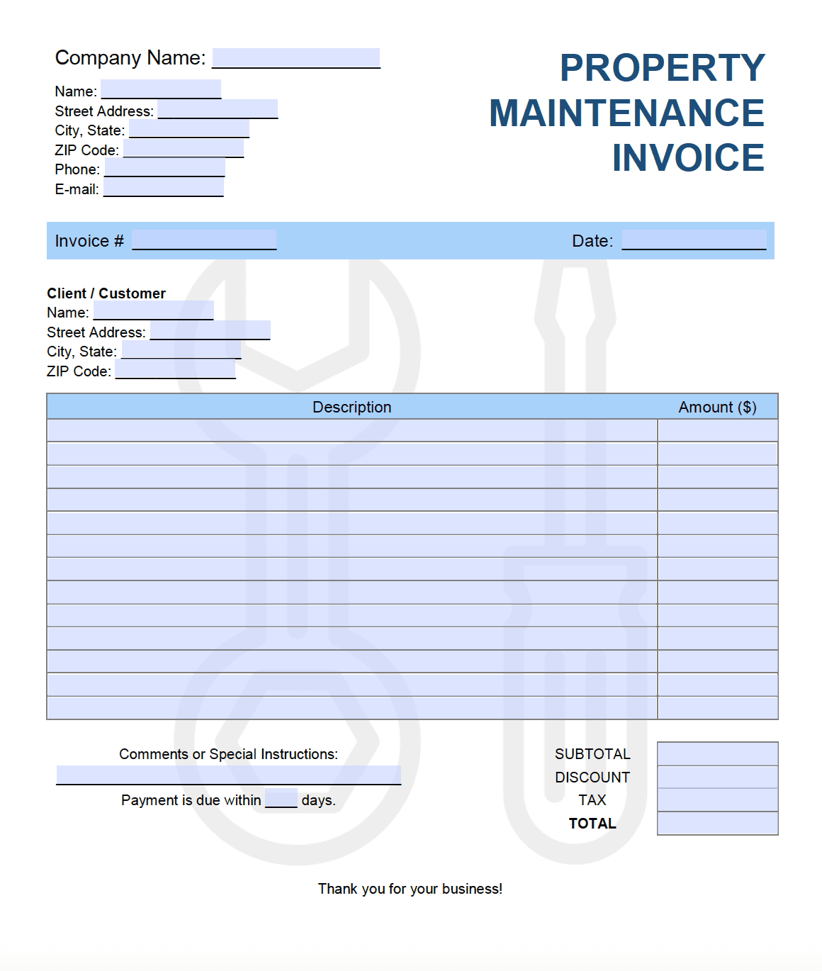 Free Property Maintenance Invoice Template Pdf Word Excel