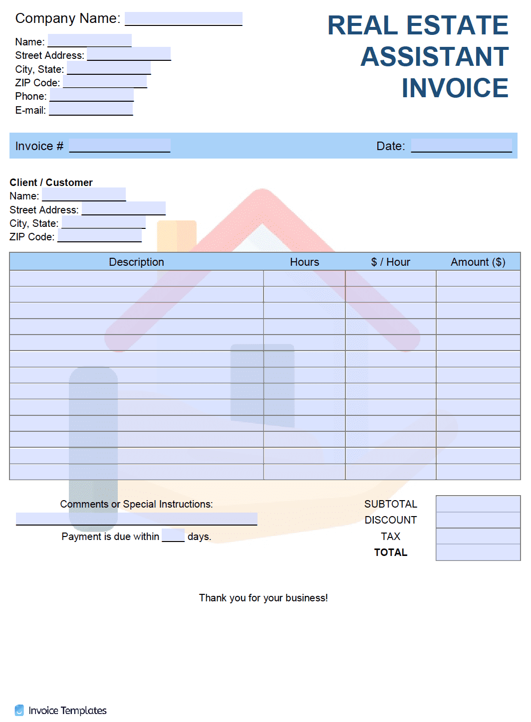 Free Real Estate Assistant Invoice Template Pdf Word Excel