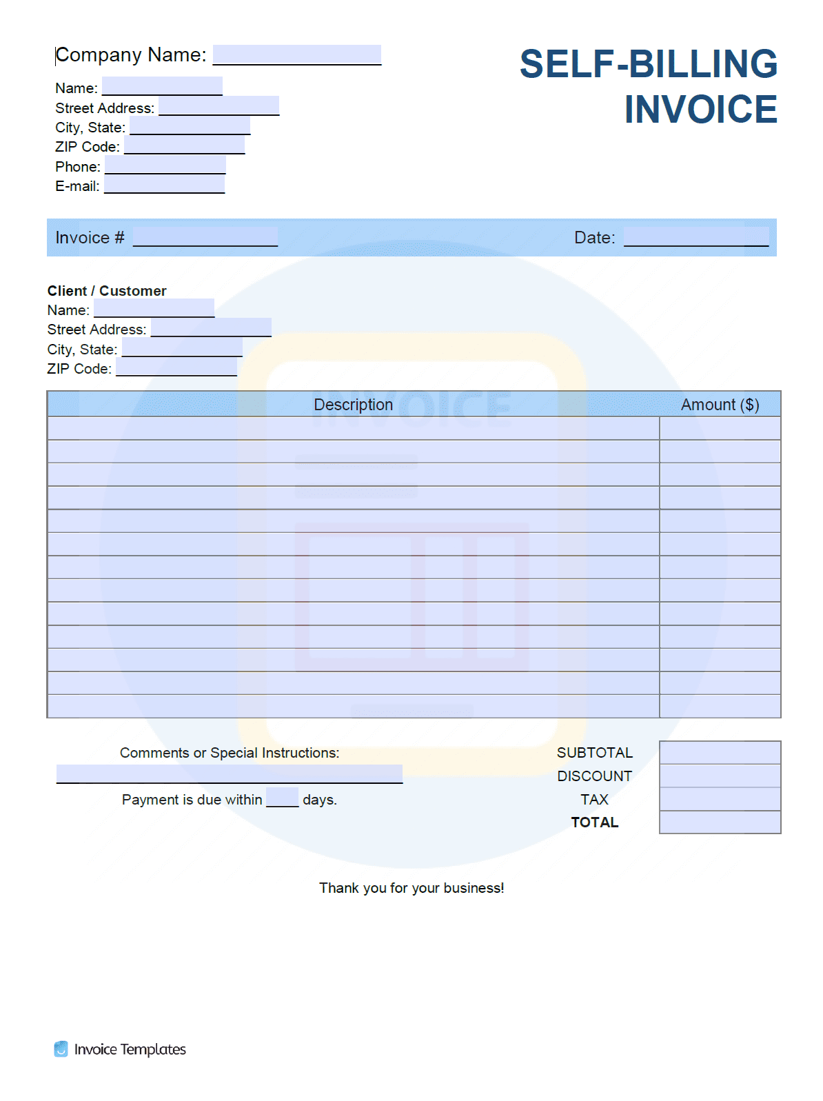 Billing Invoice Template Pdf Word Excel