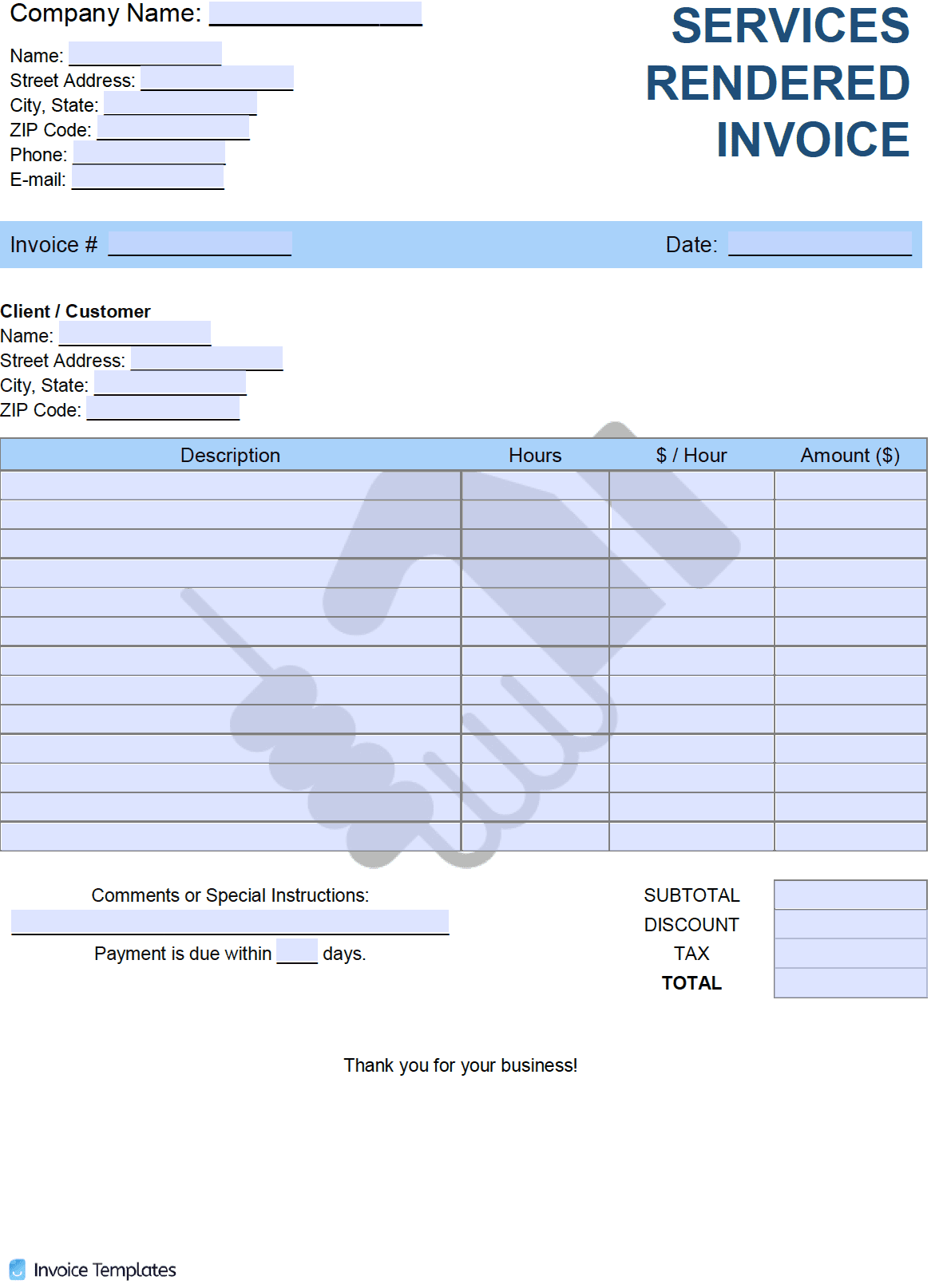 Free Services Rendered Invoice Template   PDF   WORD   EXCEL
