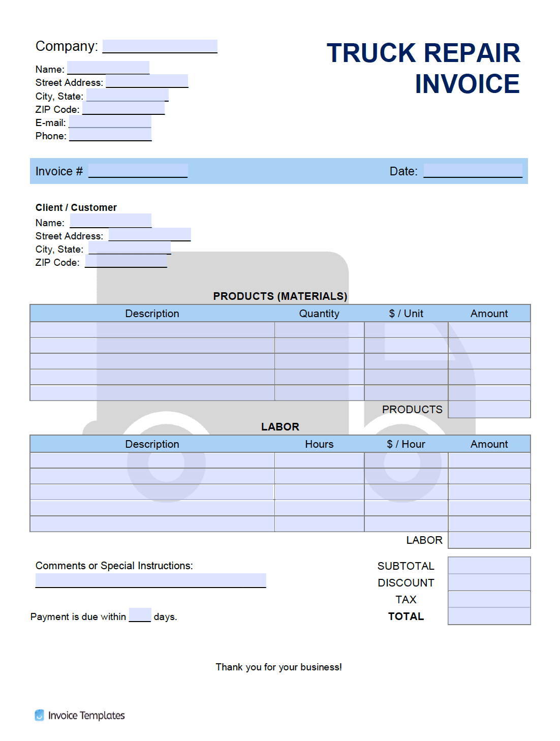 Service Invoice Template Pdf Word Excel