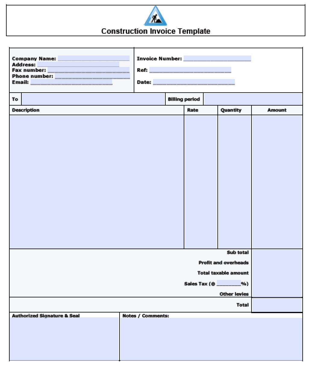 Free Construction Service Invoice Template Pdf Word Excel