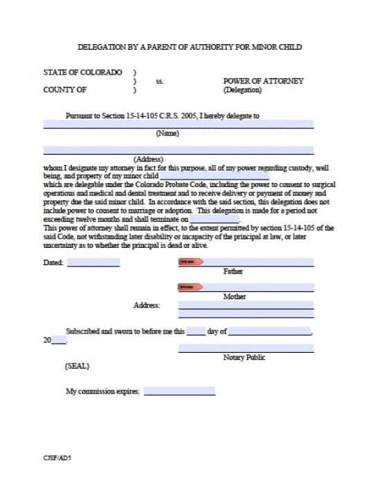 Colorado Minor Child Power of Attorney Form