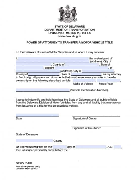 Delaware Vehicle Power of Attorney Form