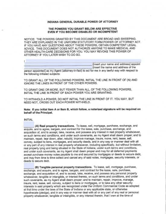 Indiana Durable Financial Power of Attorney Form
