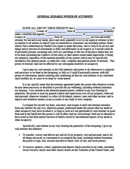 Massachusetts Durable Financial Power of Attorney Form