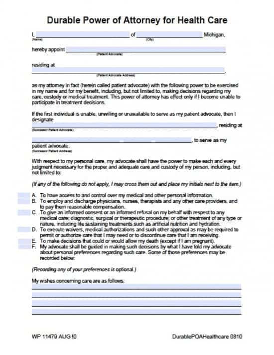 Michigan Medical Power of Attorney Form