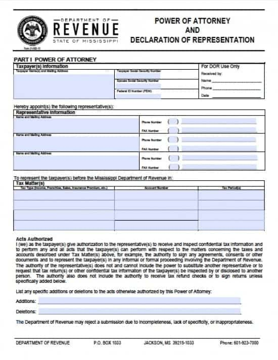 Mississippi Tax Power of Attorney Form