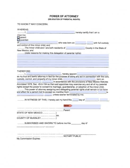 New Mexico Minor Child Power of Attorney Form
