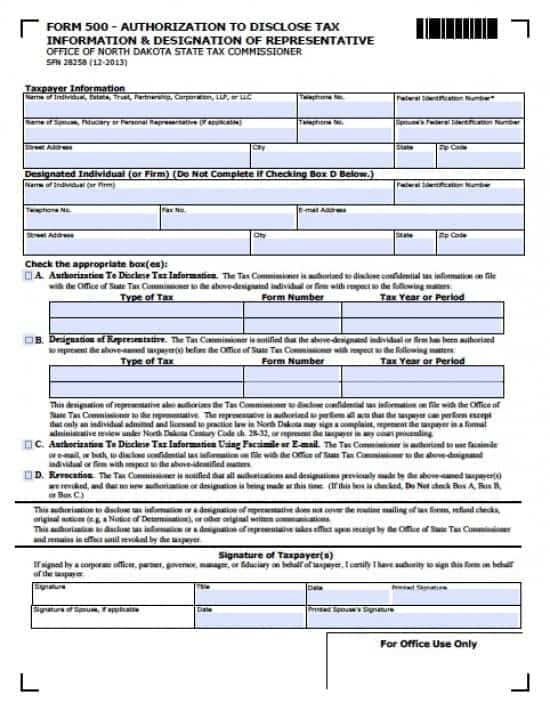 North Dakota Tax Power of Attorney Form