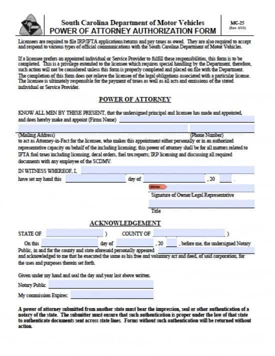 South Carolina Vehicle Power of Attorney Form