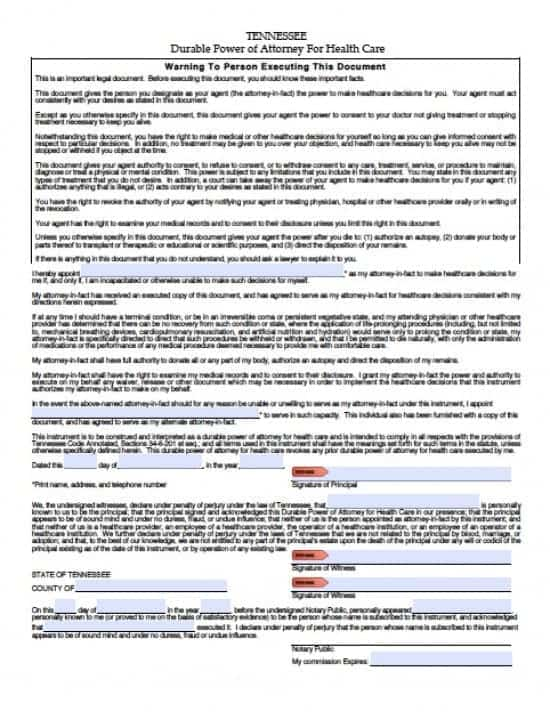 Tennessee Medical Power of Attorney Form