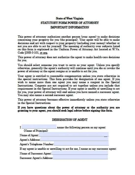 West Virginia Durable Financial Power of Attorney Form