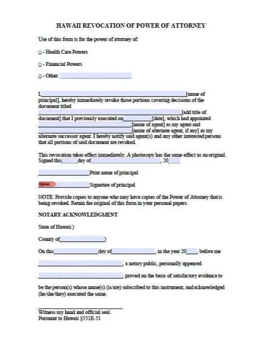 Hawaii Revocation Power of Attorney Form