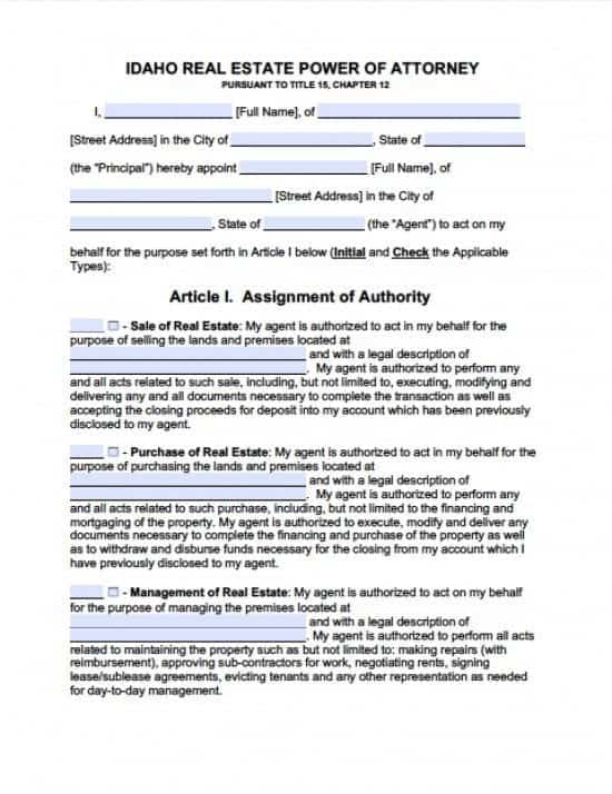 Idaho Real Estate ONLY Power of Attorney Form