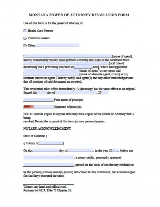 Montana Revocation Power of Attorney Form