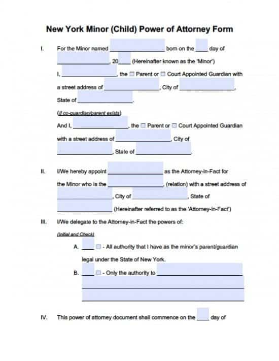 New York Minor Child Power of Attorney Form