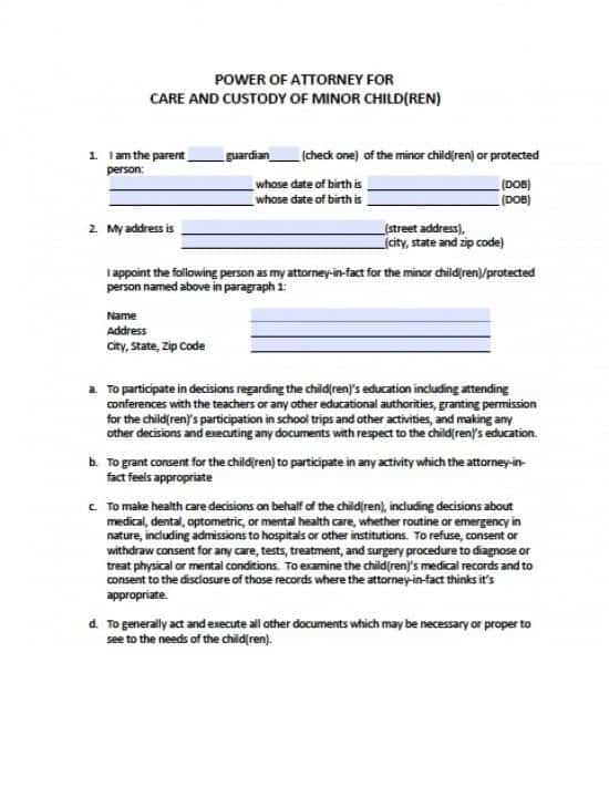 North Dakota Minor Child Power of Attorney Form