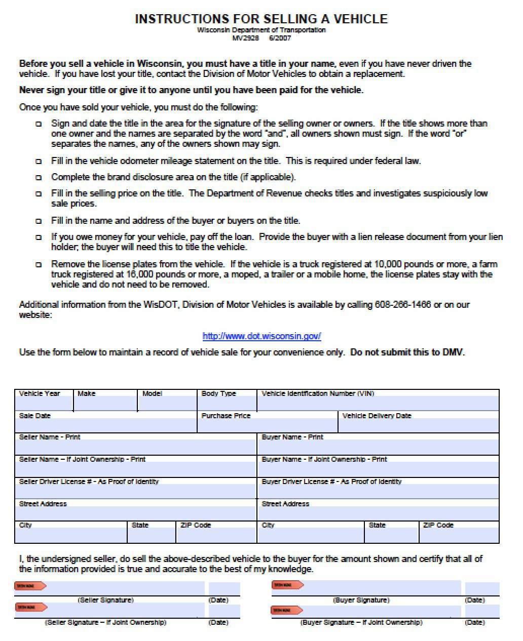 Used Dealer In North Riverside Il: Free Wisconsin DMV (Vehicle) Bill Of Sale Form